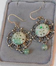 Vintage Carved Pierced Apple Jade Sterling Silver Dangle Hook Earrings 11a 113