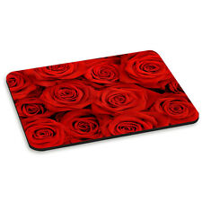 Red Roses Rectangle Flowers Floral Love Valentines Day PC Computer Mouse Mat Pad