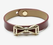 Womens Ted Baker ADDALEY Geometric bow leather bracelet Oxblood Burgundy O/S