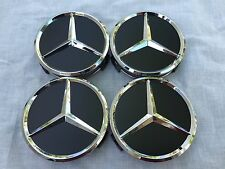 MERCEDES-BENZ (SET OF 4) 75mm BLACK WHEEL CENTER CAPS WC4PC502 MB2