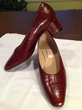 TALBOTS Crocodile Croco Embossed Leather BROWN MID-HEELS SHOES Sz 6 C Wide Italy
