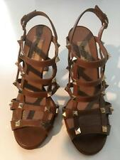 Authentic VALENTINO Rock Stud Brown Leather Heel Sandals Shoes sz 36