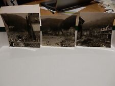 LYMOUTH FLOODS TRIO PHOTOGRAPHS ORIGINAL VINTAGE ITEM B/W 9X8 cm approx
