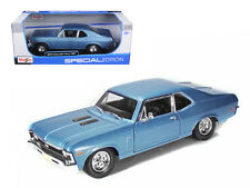 Maisto 1/18 Scale 1970 Chevy Nova SS Super Sport Blue Diecast Car Model 31132