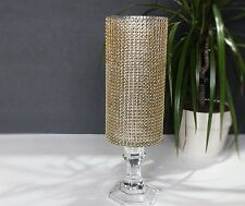 "Gold Pillar Tall Candle holder Glass wedding centerpieces 12"" crystal holders"