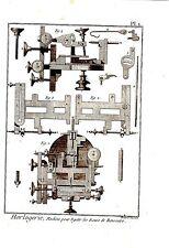 GRAVURE 18è D' EPOQUE HORLOGERIE -  MACHINE POUR EGALIR LES  ROUES DE RENCONTRE