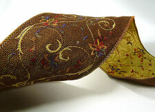 """Embroidered Holiday Ribbon Garland ~ Brown ~ Wire-Edged ~ 4"""" X 10 Yards"""