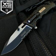 "8"" TAC FORCE Black SHERIFF Spring Assisted Open LED Tactical Rescue Pocket Knife"