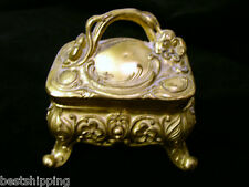 Large Heavy Victorian Floral Metal Jewelry Trinket Ring Box Casket No silk