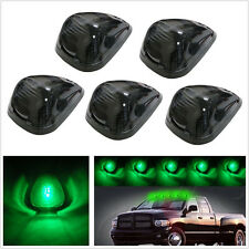 5 Pcs Black Smoke Lens Car 4X4 Truck Green LED Top Roof Marker Lights T10 Lamps