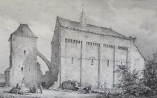 Grande Lithographie Originale XIX ème - Le Montet - Vue de l'Église - Desrosiers