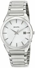 Bulova 96B015 Men's Stainless Steel Silver Dial Quartz Date Watch