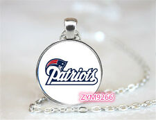 New England Patriots NFL Football Chain Pendant Glass Cabochon Photo necklace