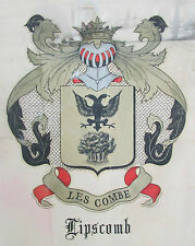 Vtg Lipscomb Les Combe Family Crest Crown Knight Family Tree Double Bird Head