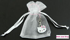 Hello Kitty Pink Enamel Rhinestone Phone Charm/Pencil Case in Organza Bag - NEW