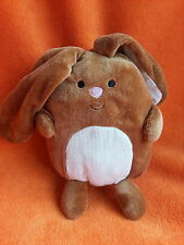 "Russ Berrie brown Rabbit soft toy 7"" seated velvet with cord tummy & ears"