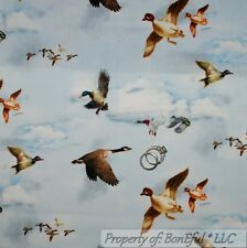BonEful Fabric FQ Cotton Quilt Blue Sky Cloud Bird Duck Dynasty Goose Hunt Cabin