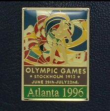 Olympic Pin Badge~Poster Pin~Stockholm, Sweden 1912~1996 Atlanta~NEW on CARD