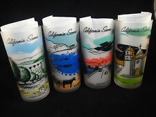 Vtg LOT 4 Libbey California Scenes Frosted Glasses Tumblers Drink Avalon Citrus