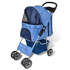 Folding Pet Walking Stroller Pram Pusher Dog Cat Travel Carrier w/ Storage -Blue