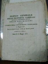 ELENCO GENERALE DELLE PROPRIETA' CAMERALI ... ROMA 16 MAGGIO 1826