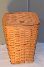 "VINTAGE 1988 LONGABERGER BASKETS LAUNDRY HAMPER! HINGED LID! 22"" TALL!"