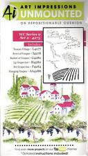 New ART IMPRESSIONS RUBBER STAMP Cling Watercolor series 9 set 2 Tuscan village