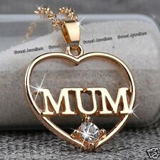 NEW Xmas Jewellery Gifts For Her Mother Women - Gold Mum Heart Crystal Necklace