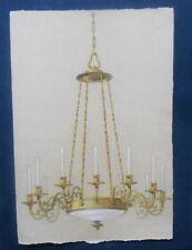 Maquette pour un lustre - Dessin à la plume - Aquarelle et gouache - 1900
