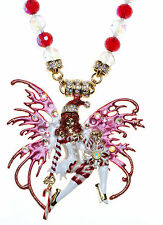 KIRKS FOLLY CANDY CANE FAIRY BEADED MAGNETIC INTERCHANGEABLE NECKLACE goldtone