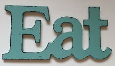 EAT Kitchen Decor Dining Room Wall Vintage Style Plaque Sign Turquoise Blue Wood