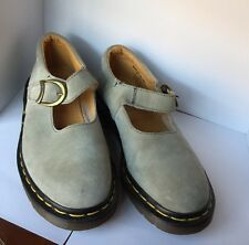DOC Dr MARTENS Mary Jane Shoes 6 Gray Suede Leather. Made In England