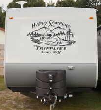 Custom Mountain Stream fisherman Decal ad family name rv travel trailer camper