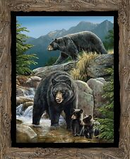 New Black Bear Cool Waters Quilt top Wall Panel Fabric Cotton Wildlife