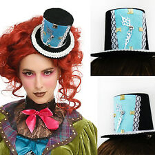 Black Blue Gothic Victorian Steampunk Clock Mini Top Hat Alice Halloween Costume