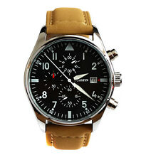 Cool Aviator's Pilot's 43mm CHRONOGRAPH Military Army Vintage Style Quartz Watch