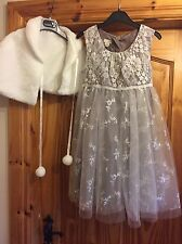 Girls Taupe Monsoon Dress Age 10 Sparkles