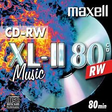Maxell Audio CD-RW Jewel Case ReWritable Recordable Blank Music 80 Min Disc 10pk