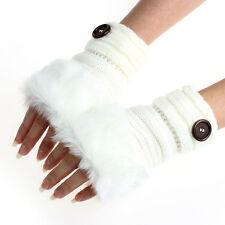 Fashion Winter Women's Rabbit Fur Leather Wrist Fingerless Gloves Mittens