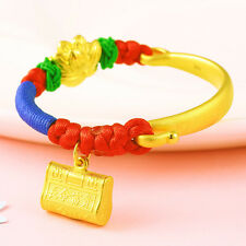 Authentic 24k Yellow Gold Half Bangle with Flower and Lock Knitted Bracelet 16cm