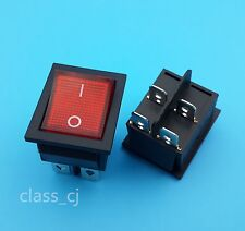 5Pcs Red Lamp 4 Pin ON/OFF 2 Position DPST Rocker Switch 16A/250V KCD4-201