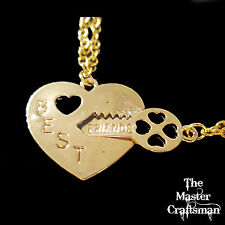 GOLD BEST FRIENDS BROKEN HEART LOCK KEY PENDANT NECKLACE SET GIFT CHARM BFF NEW