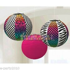NEON ANIMAL PRINT PAPER LANTERNS (3) ~ 80s Birthday Party Supplies Decorations