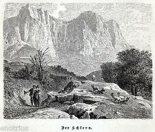 Massiccio dello Sciliar. Dolomiti.Alpi. Trentino Alto Adige/Südtirol.Tirolo.1876