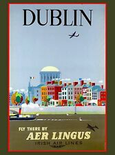 Dublin Ireland Irish Air Europe European Vintage Travel Advertisement Poster