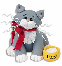 GRAY  & WHite KITTY CAT Personalized Ornament Handmade Polymer Clay by Deb & Co