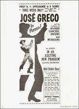 1961 vintage Dance AD, JOSE GRECO Spanish Flamenco at Royale Theater NYC 101814