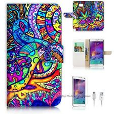 Samsung Galaxy Note 5 Flip Wallet Case Cover! S8453 Abstract