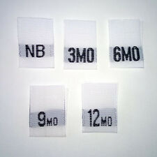 NB-3 months-6-9-12 mo Mixed Size Labels-Qty 100-Infant Woven Newborn Baby Label