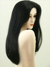 "Human Hair Wig  26"" Full Length  Silky  Jet Black  #1  H-ASHL1"